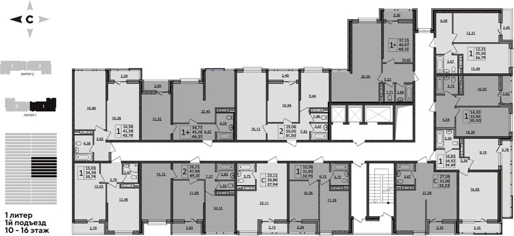 ЖК Рекорд планировка 1 корпус 1 подъезд 10-16 этажи