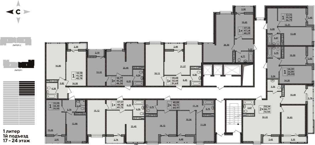 ЖК Рекорд планировка 1 корпус 1 подъезд 17-24 этажи