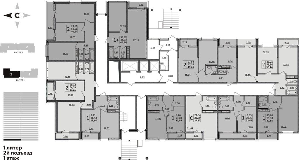 ЖК Рекорд планировка 1 корпус 2 подъезд 1 этаж