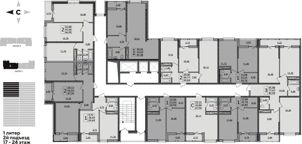 ЖК Рекорд планировка 1 корпус 2 подъезд 17-14 этажи