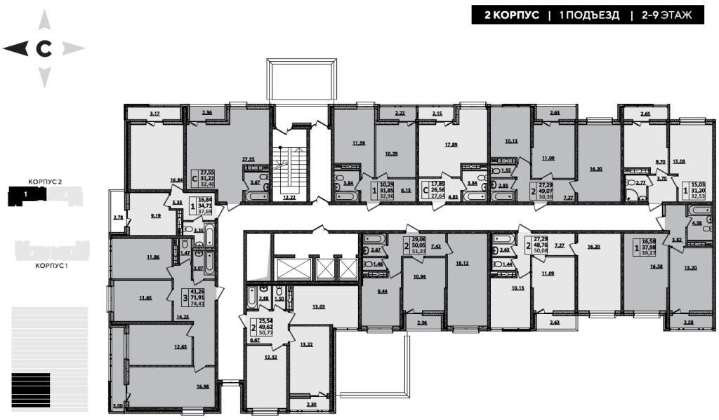 ЖК Рекорд планировка 2 корпус 1 подъезд 2-9 этажи
