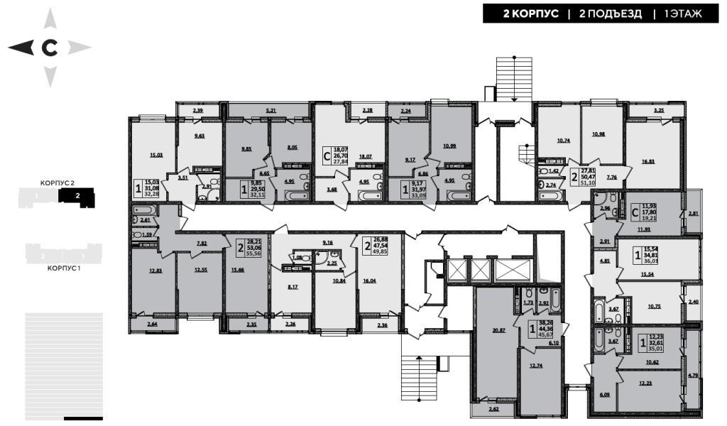 ЖК Рекорд планировка 2 корпус 2 подъезд 1 этаж