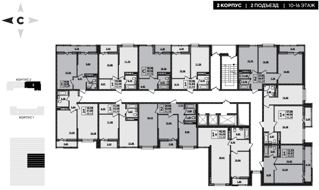 ЖК Рекорд планировка 2 корпус 2 подъезд 10-16 этажи