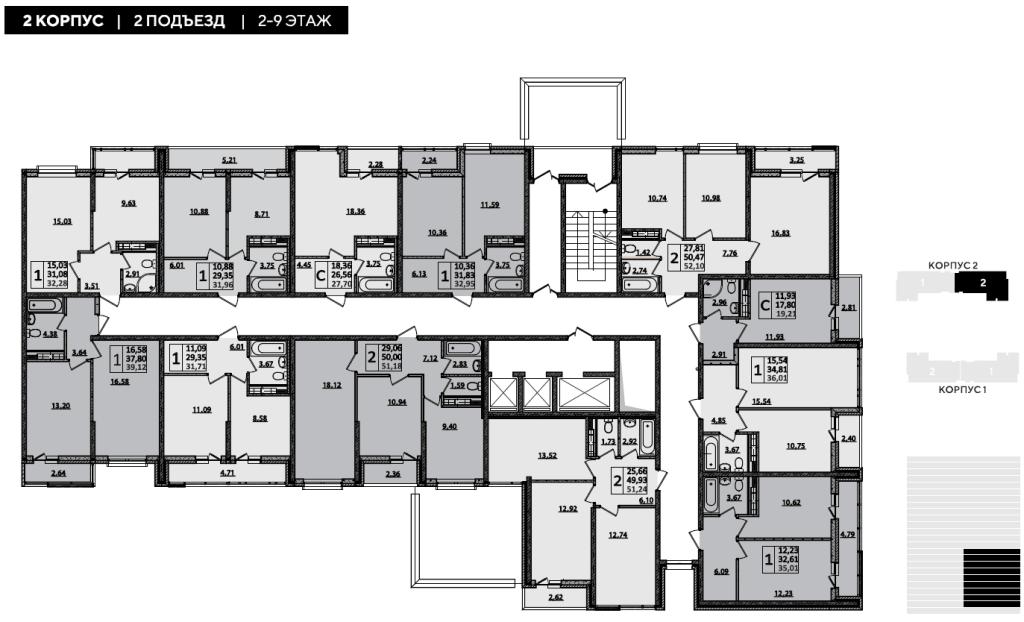 ЖК Рекорд планировка 2 корпус 2 подъезд 2-9 этажи